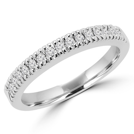 Round Cut Diamond Multi-Stone Fashion Semi-Eternity Wedding Band Ring in White Gold - #2303WS-B-W