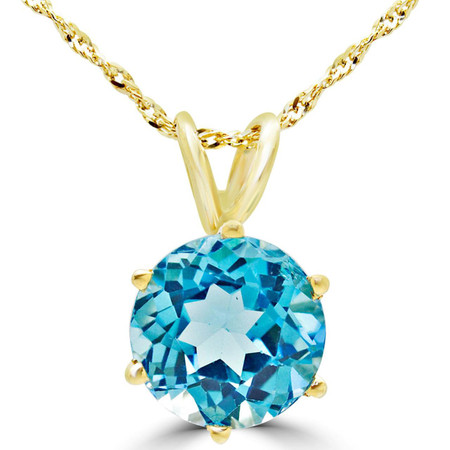 Round Cut Blue Topaz Solitaire 6-Prong Pendant Necklace With Chain in Yellow Gold - #MD-P-TPZ-Y
