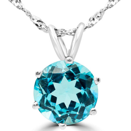 Round Cut Blue Topaz Solitaire 6-Prong Pendant Necklace With Chain in White Gold - #MD-P-TPZ-W