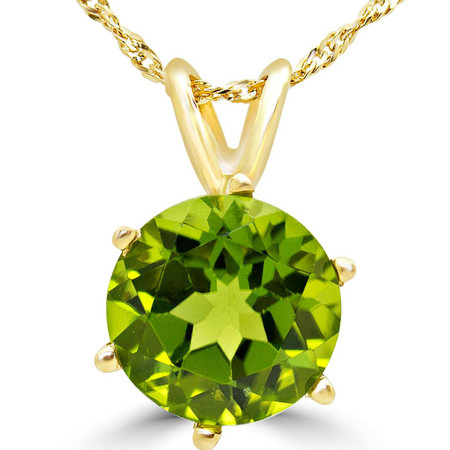 Round Cut Green Peridot Solitaire 6-Prong Pendant Necklace With Chain in Yellow Gold - #MD-P-PER-Y