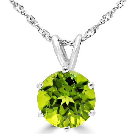Round Cut Green Peridot Solitaire 6-Prong Pendant Necklace With Chain in White Gold - #MD-P-PER-W