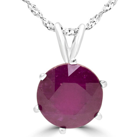 Round Cut Ruby Solitaire 6-Prong Pendant Necklace With Chain in White Gold - #MD-P-RUBY-W