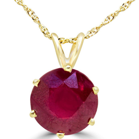 Round Cut Ruby Solitaire 6-Prong Pendant Necklace With Chain in Yellow Gold - #MD-P-RUBY-Y
