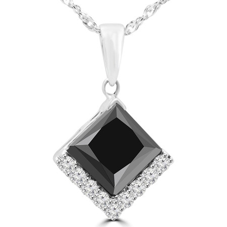 Princess Cut Black Diamond Multi-Stone Pendant Necklace with Round White Diamond Accents With Chain in White Gold - #HP4624-PR-BLK-W