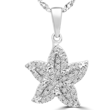 Round Cut Diamond Multi-Stone Starfish Pendant Necklace With Chain in White Gold - #PEOT8731G-W
