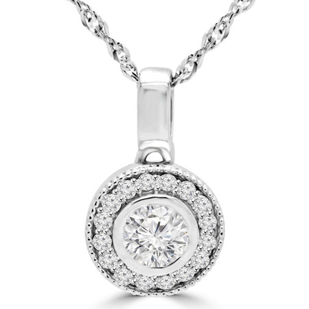 Round Cut Diamond Solitaire Halo Bezel-Set Pendant Necklace With Chain in White Gold - #MAJESTY-P6-W