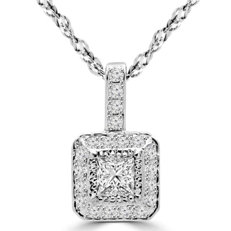 Princess Cut Diamond Multi-Stone Antique Vintage Halo Pendant Necklace With Chain in White Gold - #MD-P-P9-W