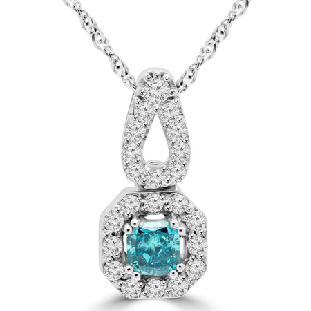 Radiant Cut Blue Diamond Multi-Stone Halo Pendant Necklace with Round White Diamond Accents and Chain in White Gold - #MD-P-P10-PR-BLUE-W