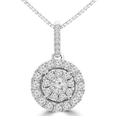 Round Cut Diamond Multi-Stone Antique Vintage Cluster Halo Pendant Necklace With Chain in White Gold - #SKP15028-35-W