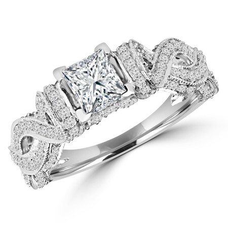 Princess Cut Diamond Multi-Stone Infinity-Motif V-Prong Engagement Ring with Round Diamond Accents in White Gold - #HR6529-W