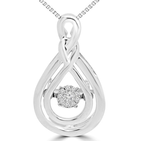 Round Cut Dancing Diamond Infinity Pendant Necklace With Chain in White Gold - #SKP15327-04-W