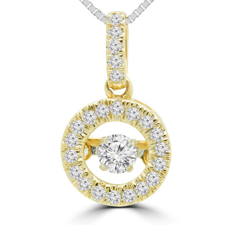 Round Cut Dancing Diamond Halo Pendant Necklace With Chain in Yellow Gold - #SKP15329-20-Y