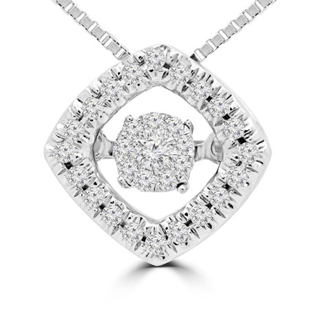 Round Cut Dancing Diamond Halo Pendant Necklace With Chain in White Gold - #SKP15339-10-W