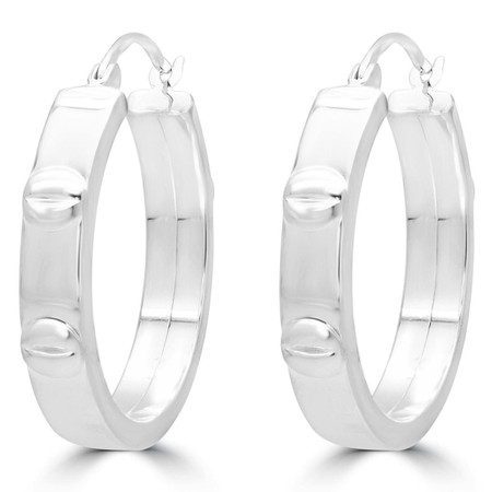 High-Polish Square-Edge Fashion Hoop Earrings in Sterling Silver - #SIN-E-925-CARTIER