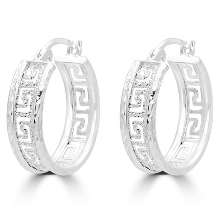 Small Greek Key Motif Fashion Hoop Earrings in Sterling Silver - 18 MM - #SIN-E-925-VERS-HOOPS1