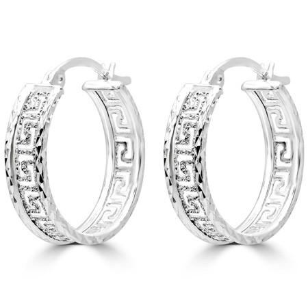 Medium Greek Key Motif Fashion Hoop Earrings in Sterling Silver - 22.5 MM - #SIN-E-925-VERS-HOOPS4