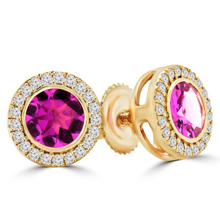 Round Cut Pink Tourmaline Vintage Stud Bezel-Set Earrings with Round Diamond Accents in Yellow Gold with Screw Backs - #HE4903-Y-TOUR