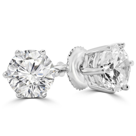 Round Cut Diamond Solitaire 6-Prong Stud Earrings in White Gold with Screw Backs - #HE4905-W