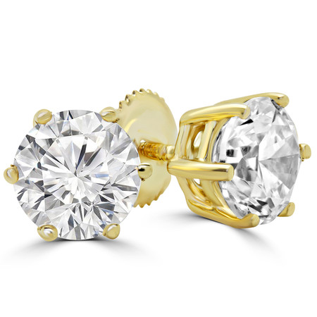 Round Cut Diamond Solitaire 6-Prong Stud Earrings in Yellow Gold with Screw Backs - #HE4905-Y