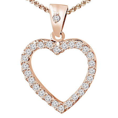 Round Cut Diamond Multi-Stone Shared-Prong Heart Shape Pendant Necklace with Chain in Rose Gold - #RAF-P-HEART-R
