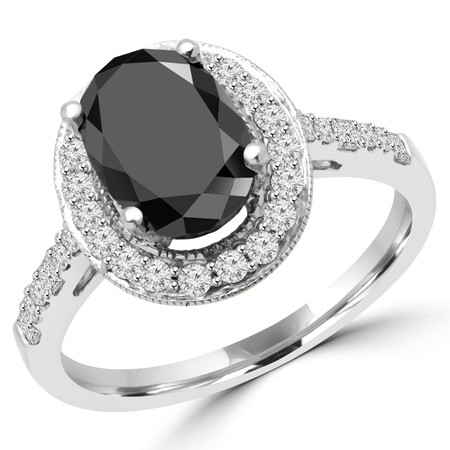 Oval Cut Black Diamond 4-Prong Halo Engagement Ring with Round White Diamond Accents in White Gold - #HR6224-W-BLK-OV