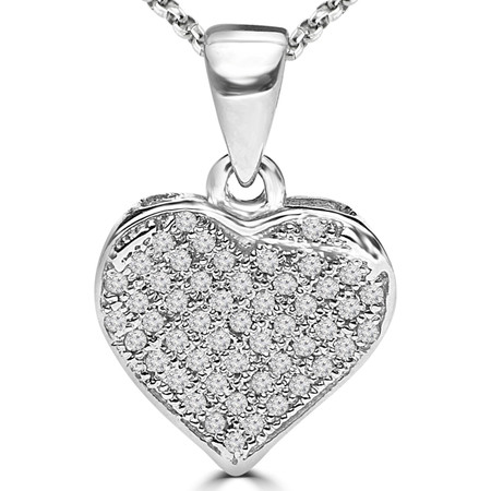 Round Cut Diamond Multi-Stone Pave Heart Pendant Necklace with Chain in White Gold - #PEOT6805-W