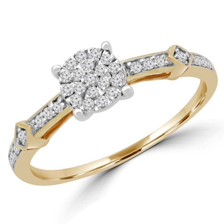 Round Cut Diamond Cluster Engagement Ring in Yellow Gold - #ENOT8608G-Y