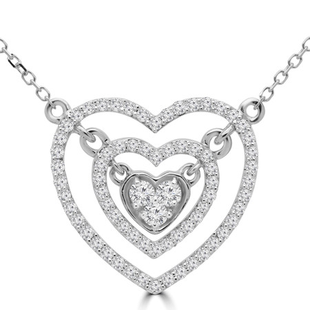 Round Cut Diamond Double Halo Cluster Heart Pendant Necklace in White Gold With Chain - PD000425A-W