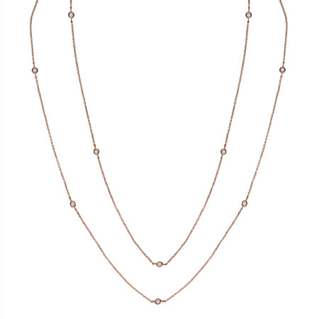Round Cut Diamond Bezel Set Cut Diamonds By the Yard Pendant Necklace in Rose Gold With Chain - NK000021A-R