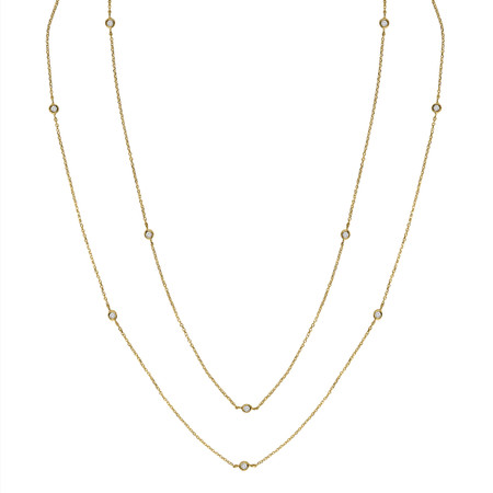 Round Cut Diamond Bezel Set Cut Diamonds By the Yard Pendant Necklace in Yellow Gold With Chain - NK000021A-Y