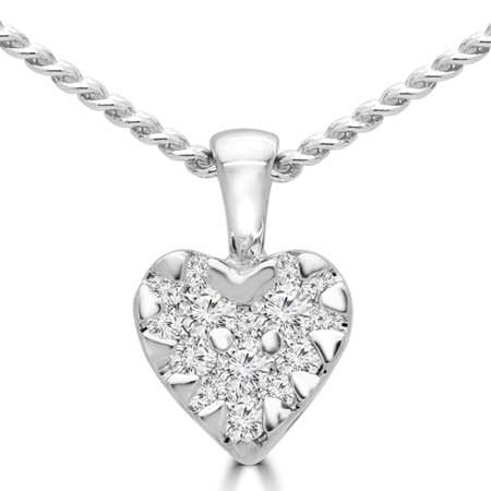 Round Cut Diamond Cluster Heart Pendant Necklace in White Gold With Chain - PD000138A-W