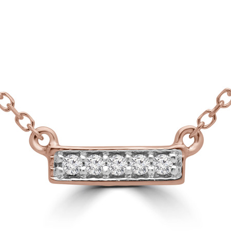 Round Cut Diamond Bar Pendant Necklace in Rose Gold With Chain - PD000316A-R