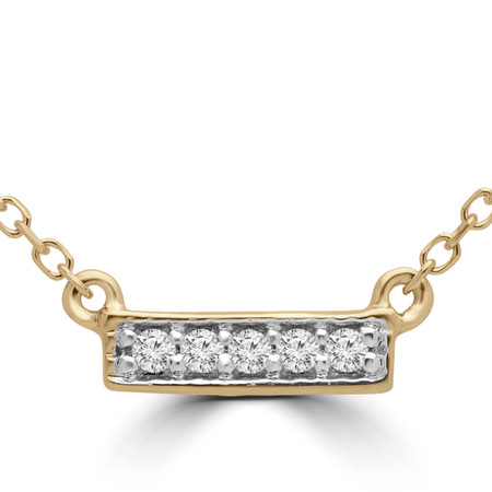 Round Cut Diamond Bar Pendant Necklace in Yellow Gold With Chain - PD000316A-Y