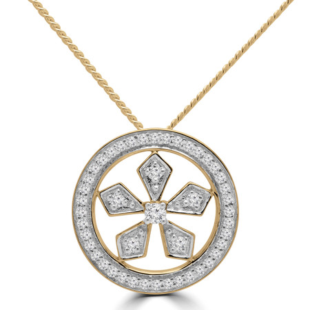 Round Cut Diamond Halo Pendant Necklace in Yellow Gold With Chain - PD000422A-Y