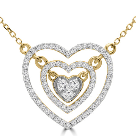 Round Cut Diamond Double Halo Cluster Heart Pendant Necklace in Yellow Gold With Chain - PD000425A-Y