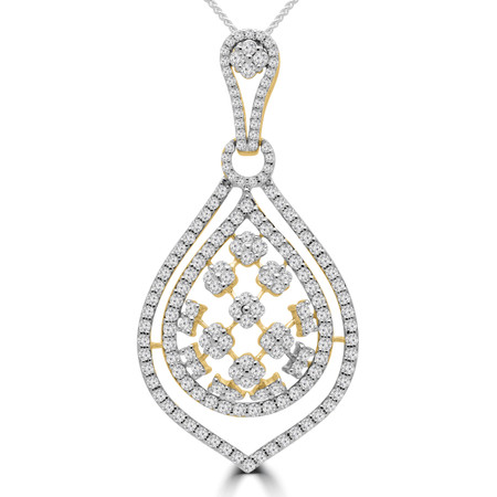 Round Cut Diamond Large Double Halo Cluster Pendant Necklace in Yellow Gold With Chain - PD000439A-Y