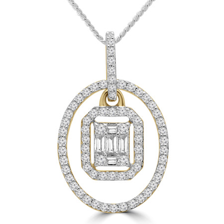 Baguette Cut Diamond Oval Halo Cluster Pendant Necklace in Yellow Gold With Chain - PD000440A-Y