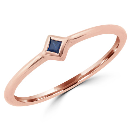 Princess Blue Sapphire Bezel Set Solitaire Ring in Rose Gold - RG001058A-R