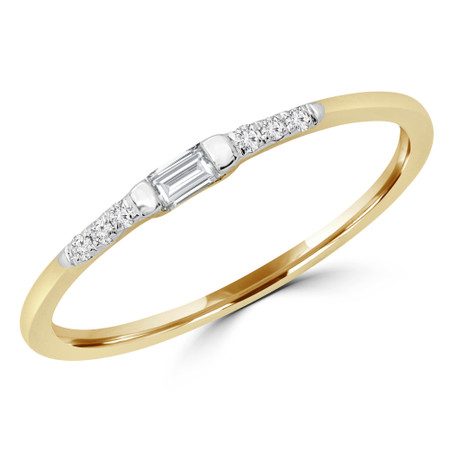 Baguette Cut Diamond Promise Multi-Stone Engagement Ring in Yellow Gold - #RG001054A-Y