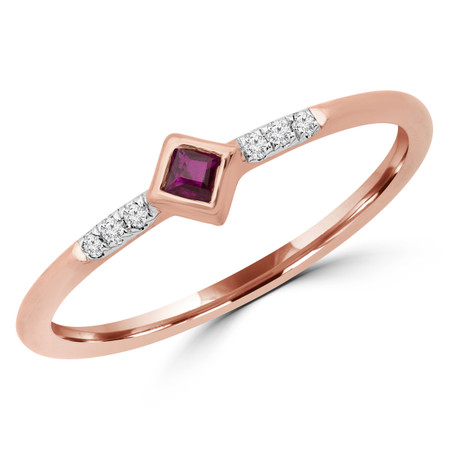 Round Red Ruby Bezel Set Cocktail Ring in Rose Gold - RG001057A-R