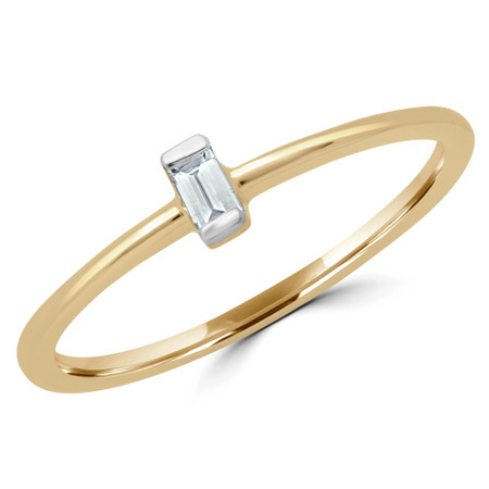 Baguette Cut Diamond Promise Solitaire Engagement Ring in Yellow Gold - #RG001055A-Y