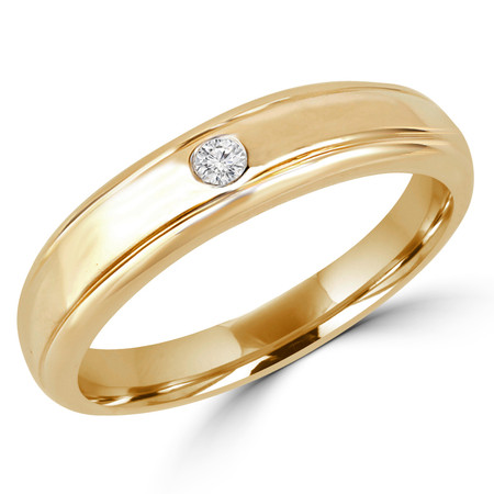 Round Cut Diamond Solitaire Engagement Ring in Yellow Gold - #HR2272-Y