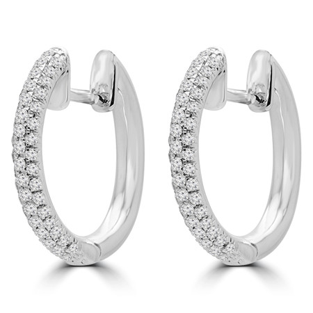 Round Cut Diamond Huggie Hoop Earrings in White Gold - ER000334A-W