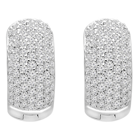Round Cut Diamond Pave Huggie Earrings in White Gold - ER000106A-W
