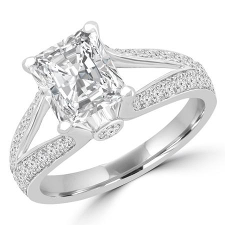 Radiant Diamond Split Shank Multi-stone Engagement Ring in White Gold - #3602-W
