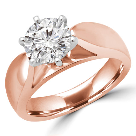 Round Cut Solitaire Engagement Ring in Rose Gold - #1133L-R