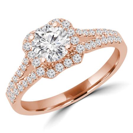 Round Diamond Split Shank Multi-stone Halo Engagement Ring in Rose Gold - #AMAYA-R