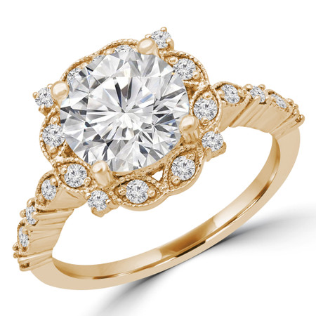 Round Halo Multi-stone Engagement Ring in Yellow Gold - #ANAT-Y