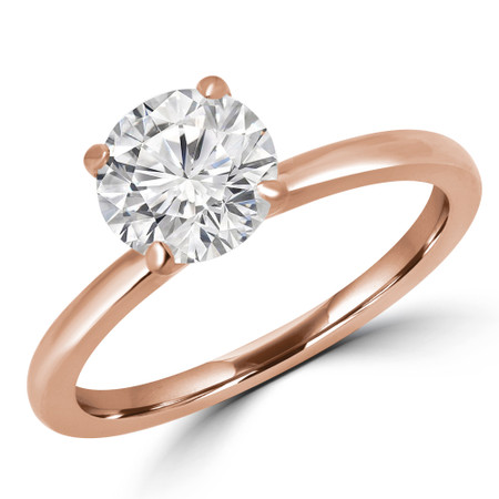 Round Cut Solitaire Engagement Ring in Rose Gold - #ANKSOL-R