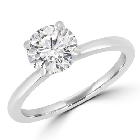 Round Cut Solitaire Engagement Ring in White Gold - #ANKSOL-W